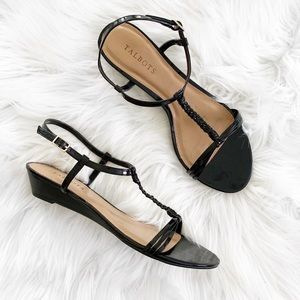 Talbots Black Patent T Strap Wedge Sandals
